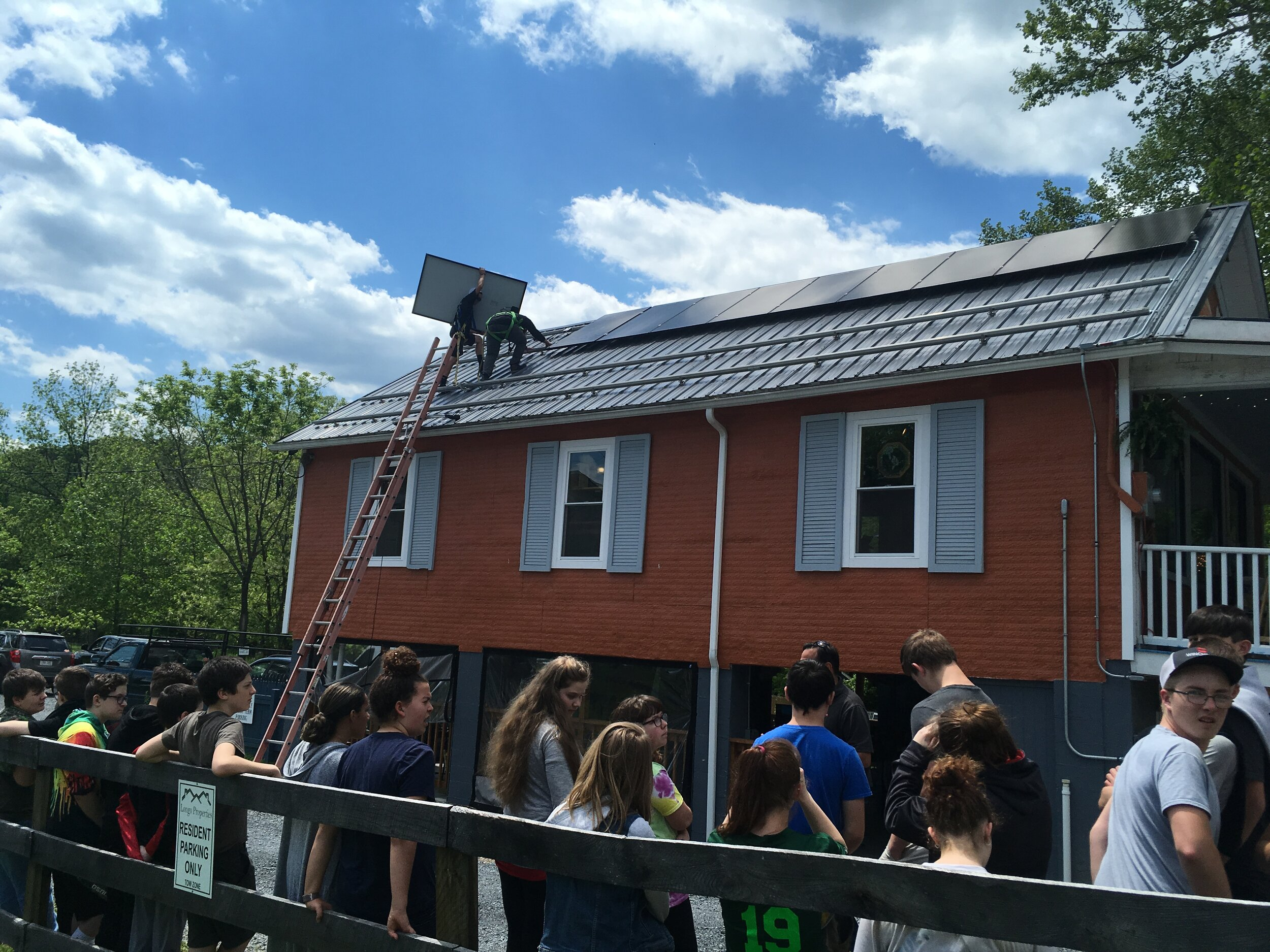 Students from Capon Bridge Middles School visited The River House to see the installation of two donated panels and to learn about careers in West Virginia's solar industry