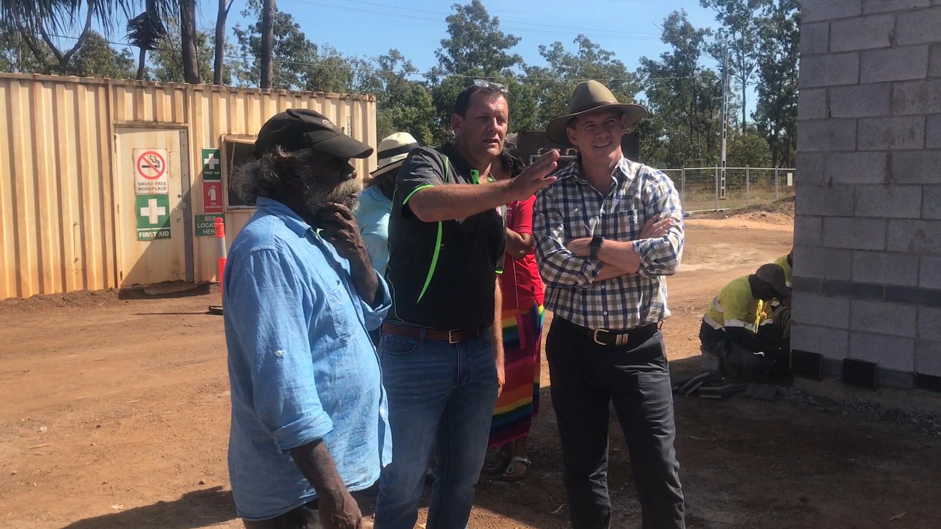 Alfred Mamarika, Chair of Groote Eylandt and Bickerton Island Enterprises, Glen, our construction manager, and NT Chief Minister, Michael Gunner.