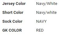 """A screenshot from the information Azul City sent LSR Tuesday before the game. We were told this """"doesn't specify whether navy or white is the primary color."""" Orly? What about the socks?"""