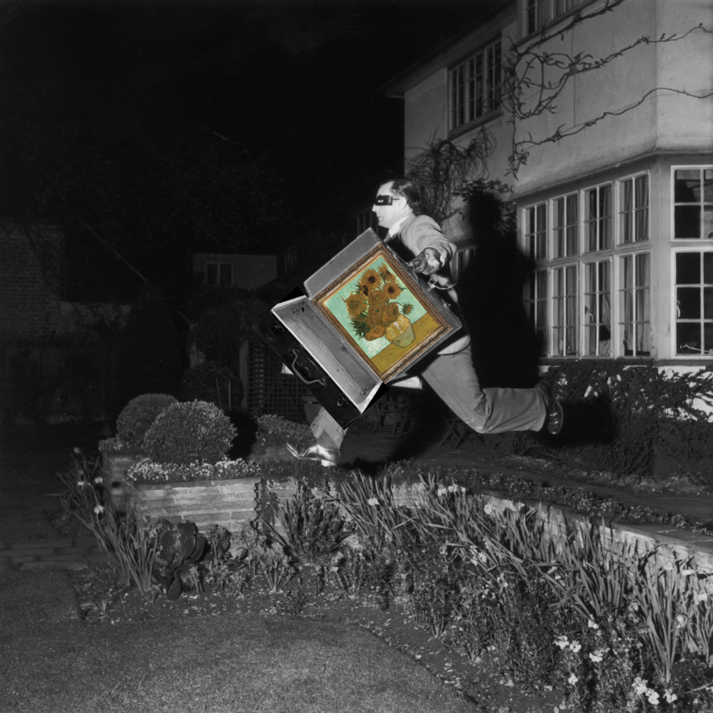 A blundering burglar tries to make off with a masterpiece! Photo by Bert Hardy/Picture Post/Getty Images. Illustration: artnet News
