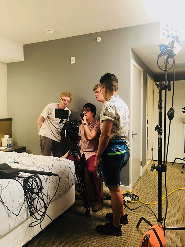 The whole crew setting up a shot