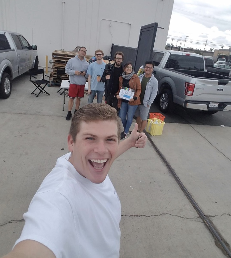 Behind the scenes of Rola-Chem commercial. (Front Dane Morery, Left to Right Jose Rosete, Landon Coats, Nathan Schneekluth, Nadia Brito, and Thai Tran)