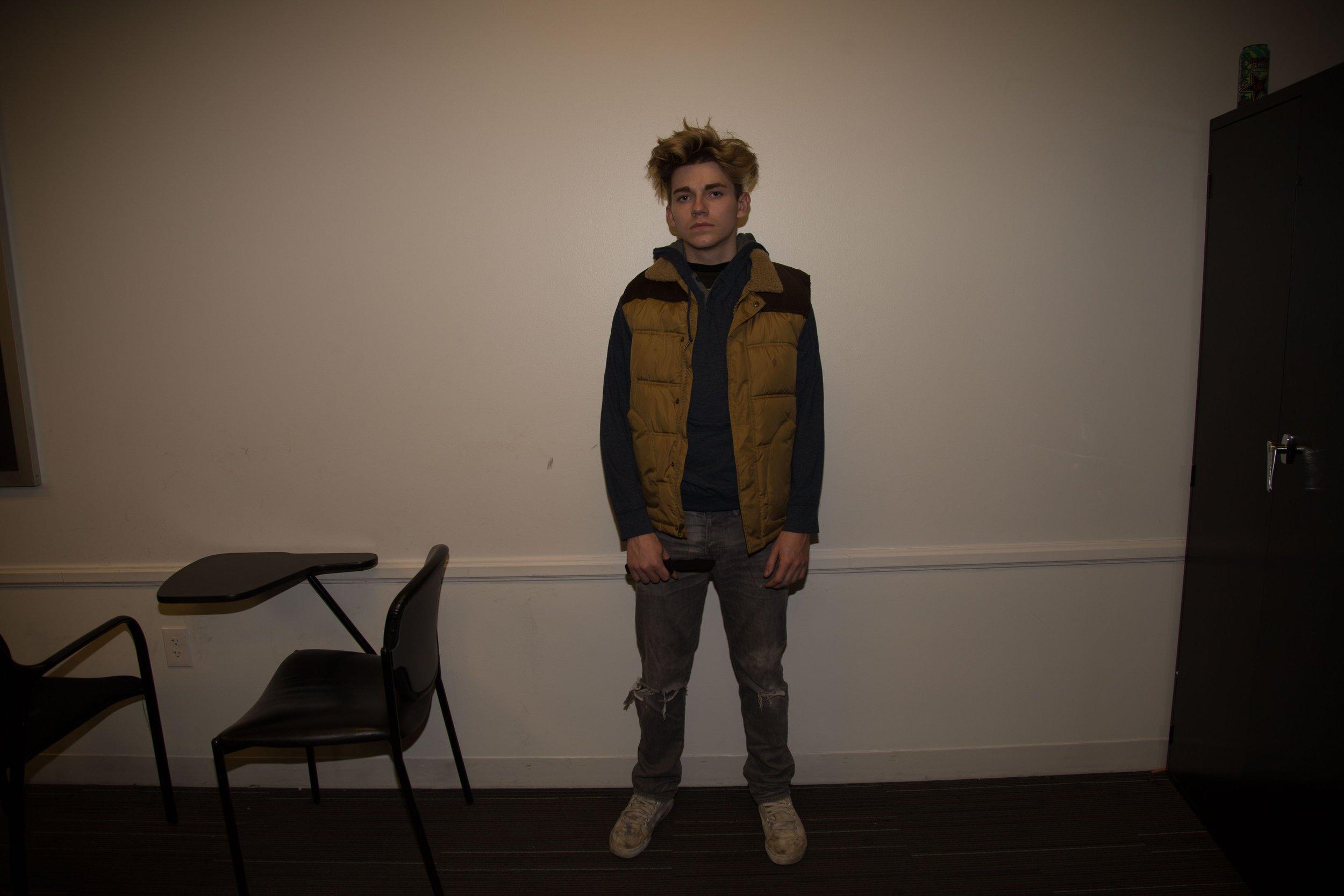 Brady Lindsey (Robbie) testing wardrobe