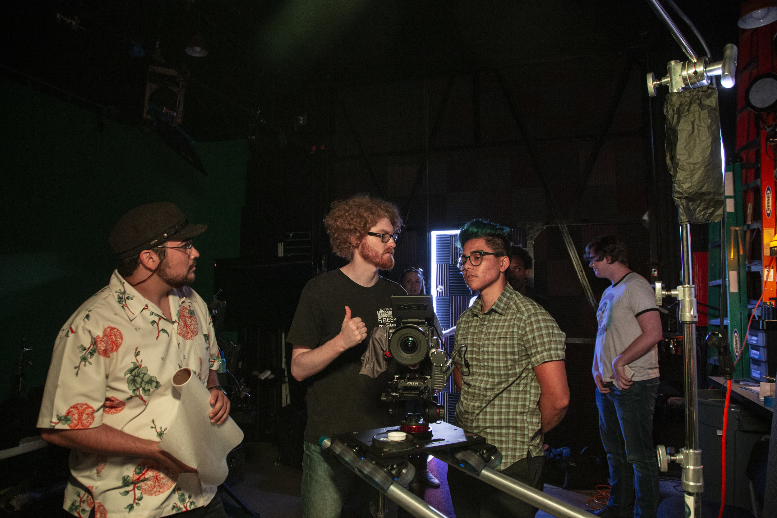Director Landon Coats, with the camera team. Avery Ramirez Director of Photography and Jacob Gonzales 1st AC