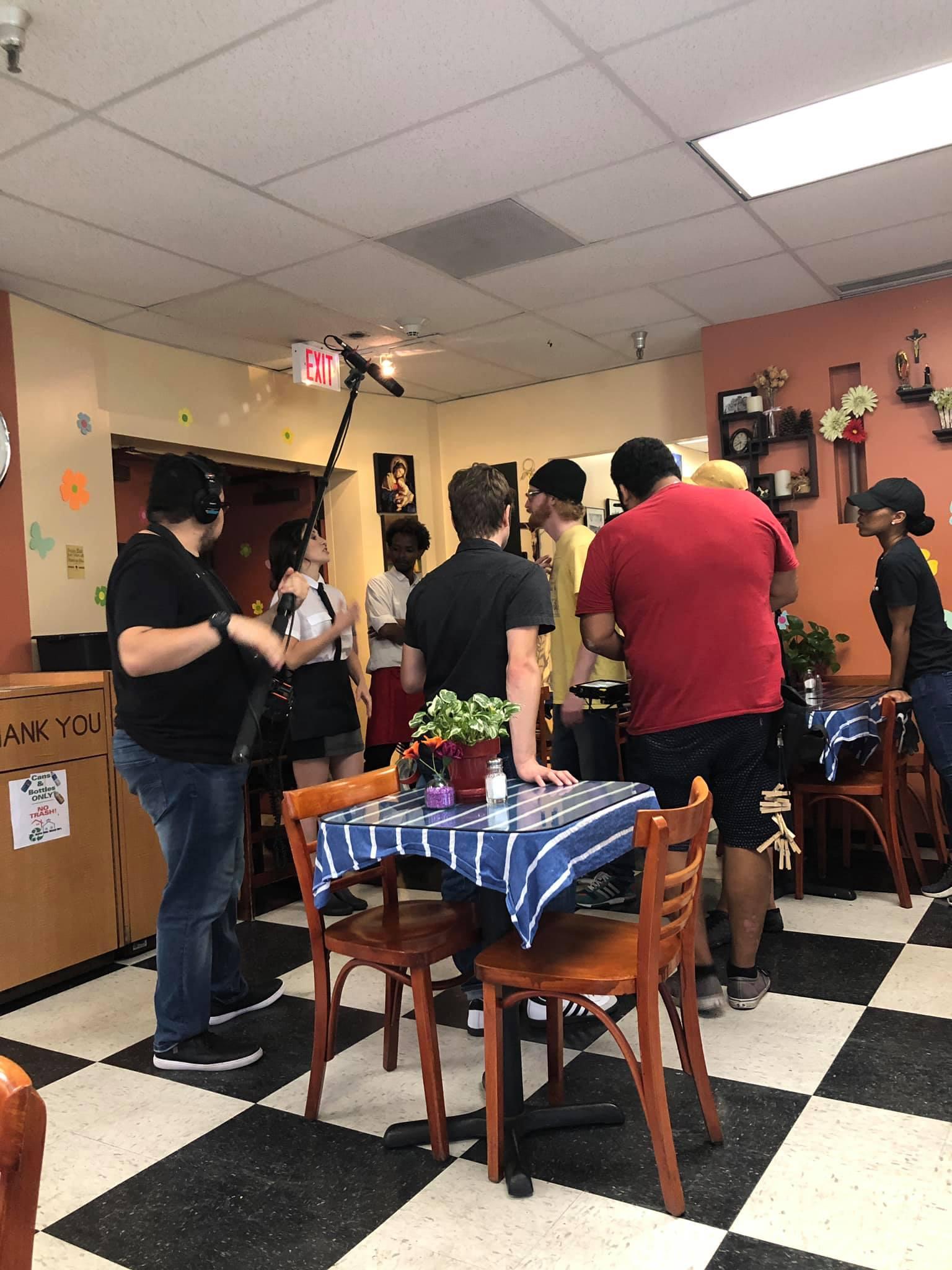 Behind the scenes between takes.