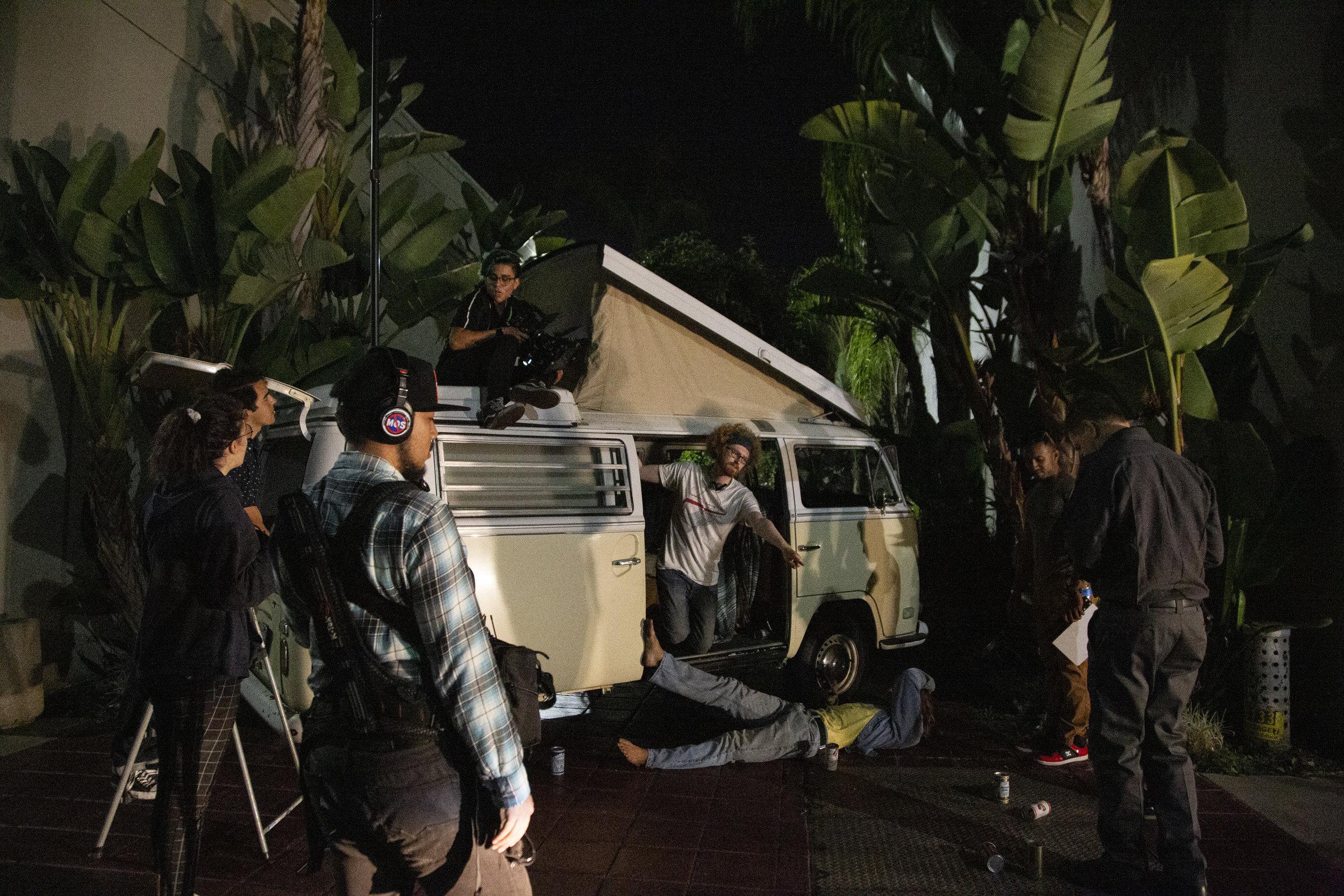 Landon Coats directing the set of Motel 32