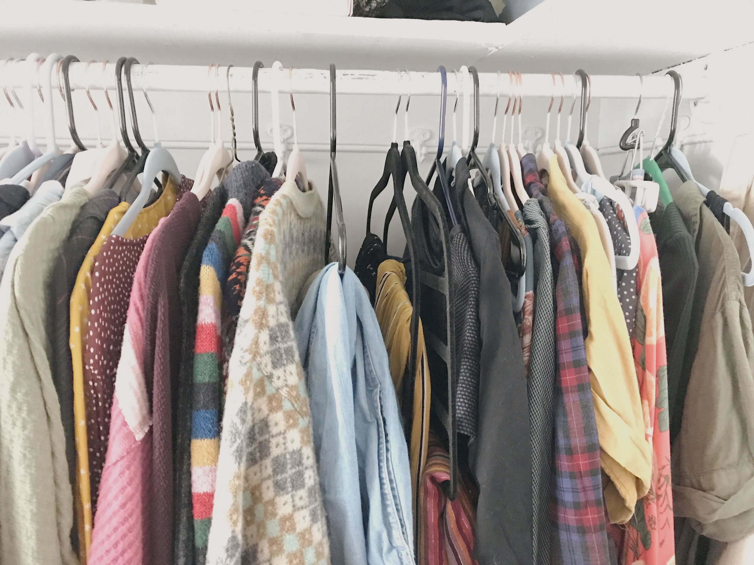 Tops organized by sleeve length, then bottoms, then everything on the right is stuff I wouldn't be able to wear to work.