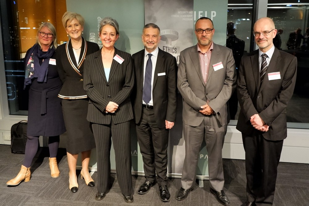 Left to right: Louise Rolland (EY); Gill Callister (Department of Education & Training and IPAA Victoria); Serena Lillywhite (TI Australia); David Ali (IPAA Victoria); Adam Canwell (EY); Dr Paul Grimes (Victorian Public Sector Commission).