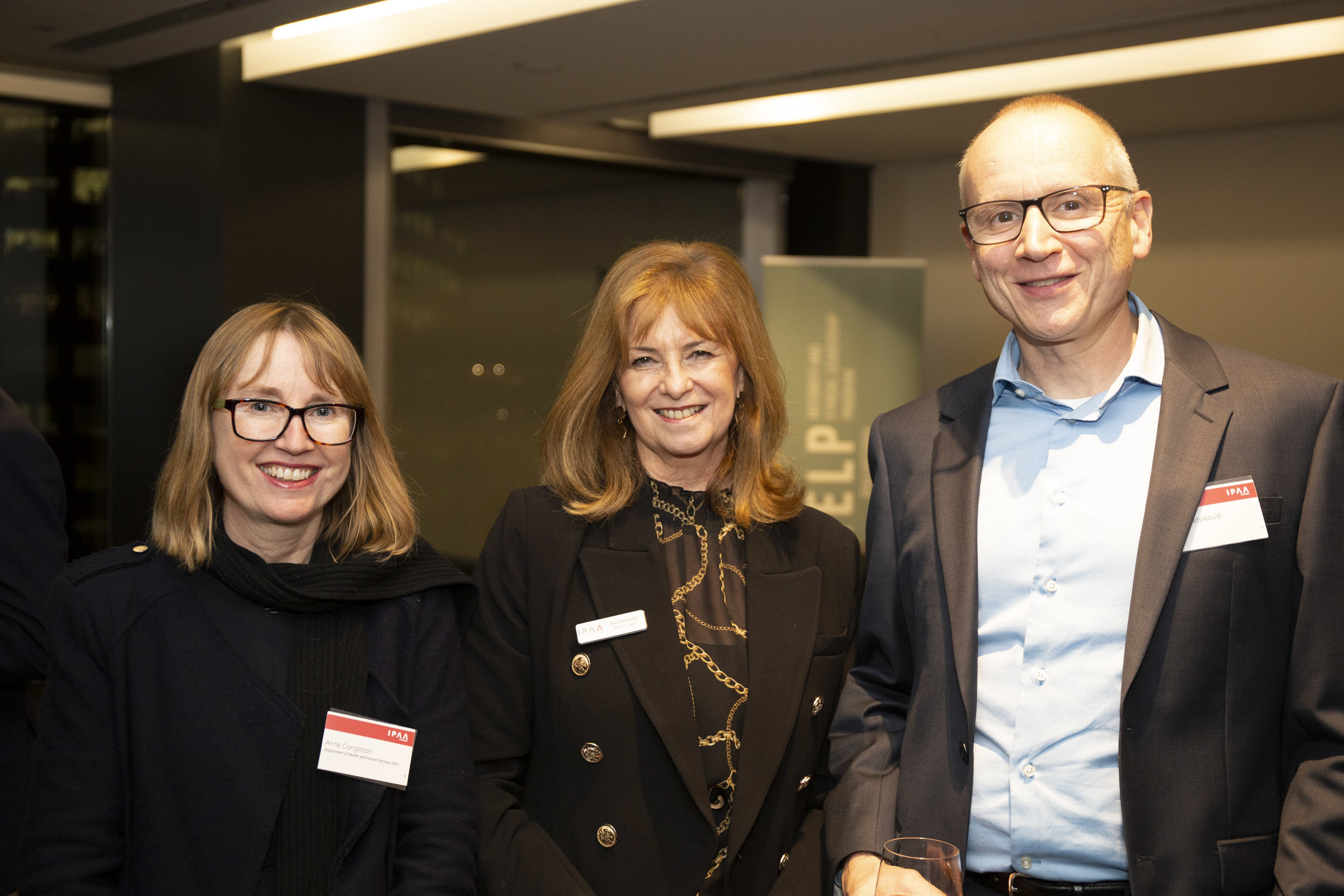 Left to right: IELP alumnae Anne Congleton (DHHS); IPAA Victoria's Sue Woodward; and IELP alumnus Nigel Cadywood (Cinitex)