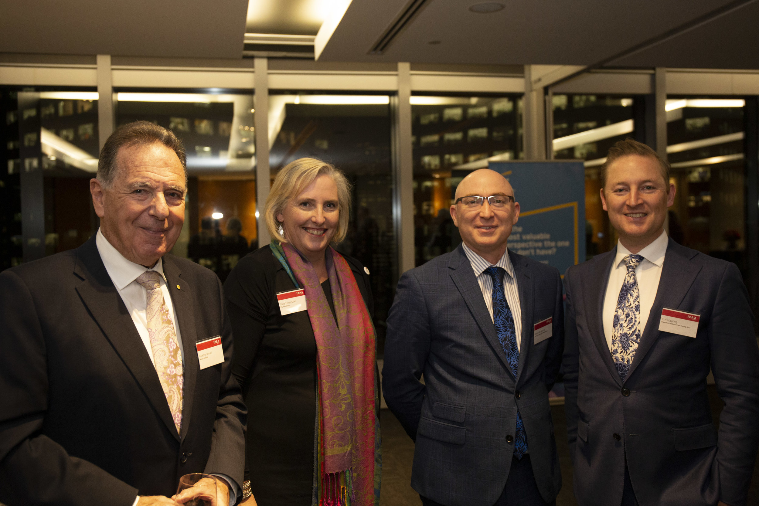 Left to right: Prof Graeme Samuel AC with IELP alumni Claire Ferres Miles (City of Melbourne), Arron de Rozario (CPVV) and Chris Keating (DET)