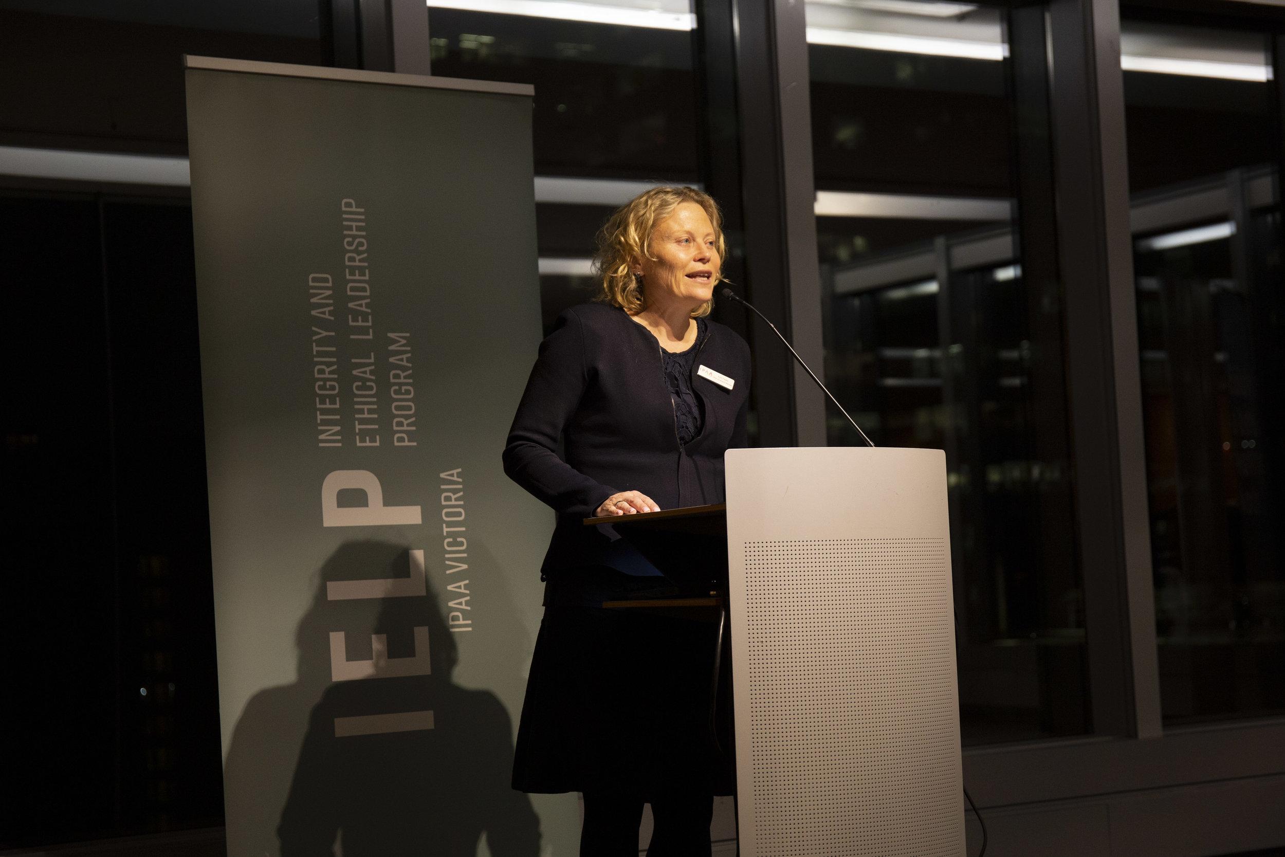 Kym Peake, IPAA Victoria president, addresses guests and alumni