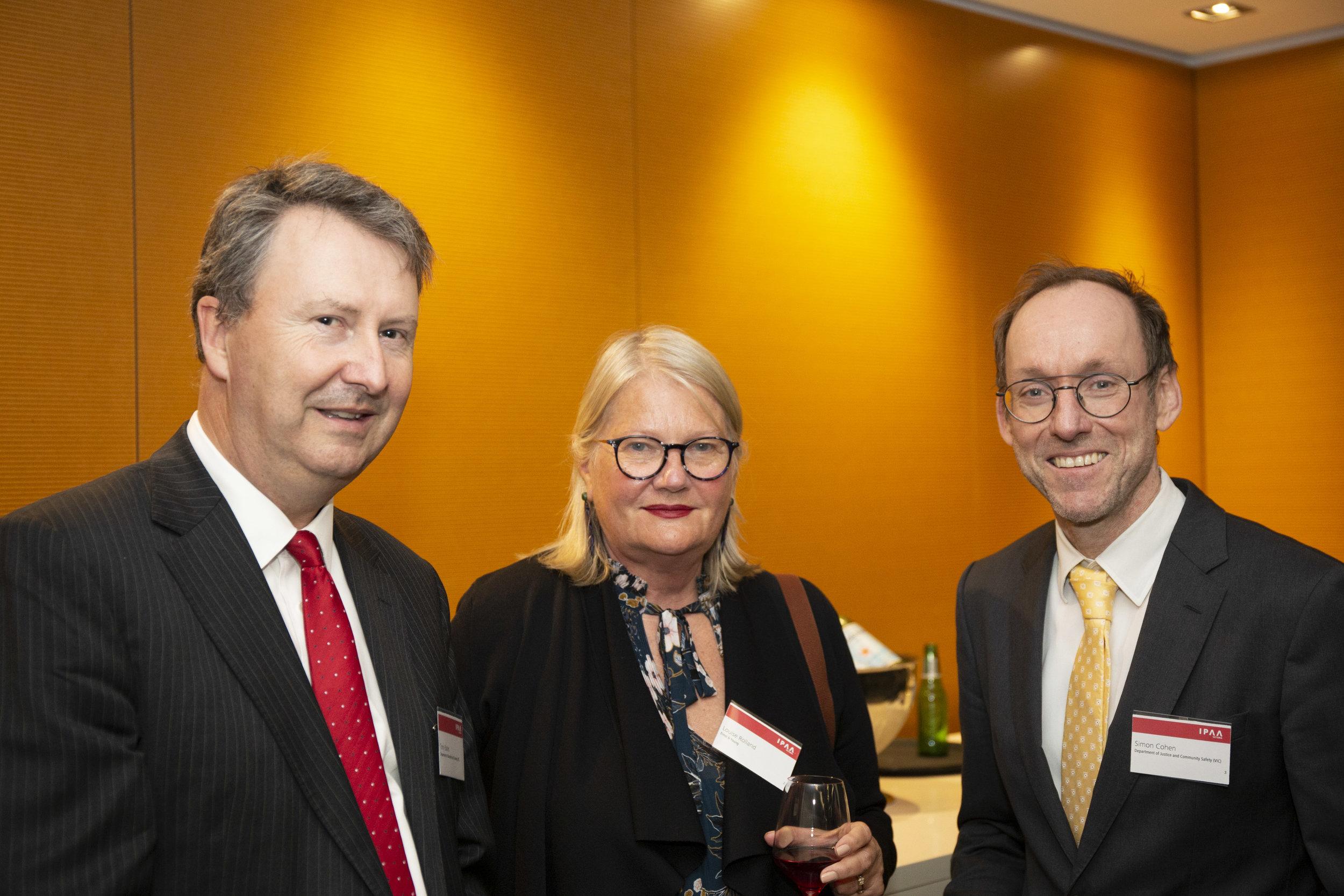 Left to right: IELP alumnus Tony Bates PSM (DET); Louise Rolland (EY); and IELP alumnus Simon Cohen (DJCS)