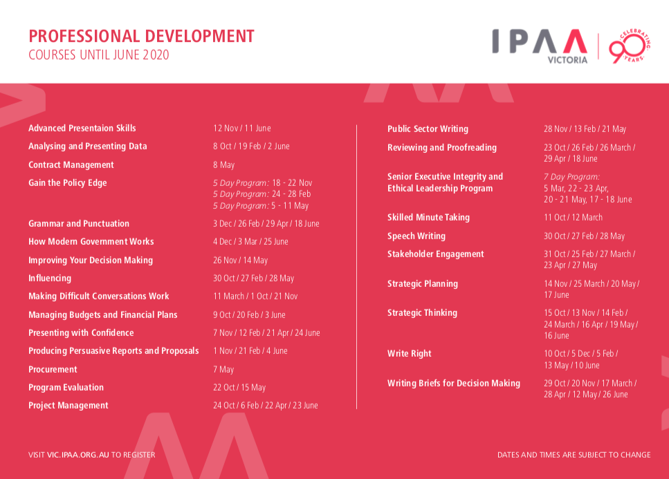 Click on the image to download the full course calendar.