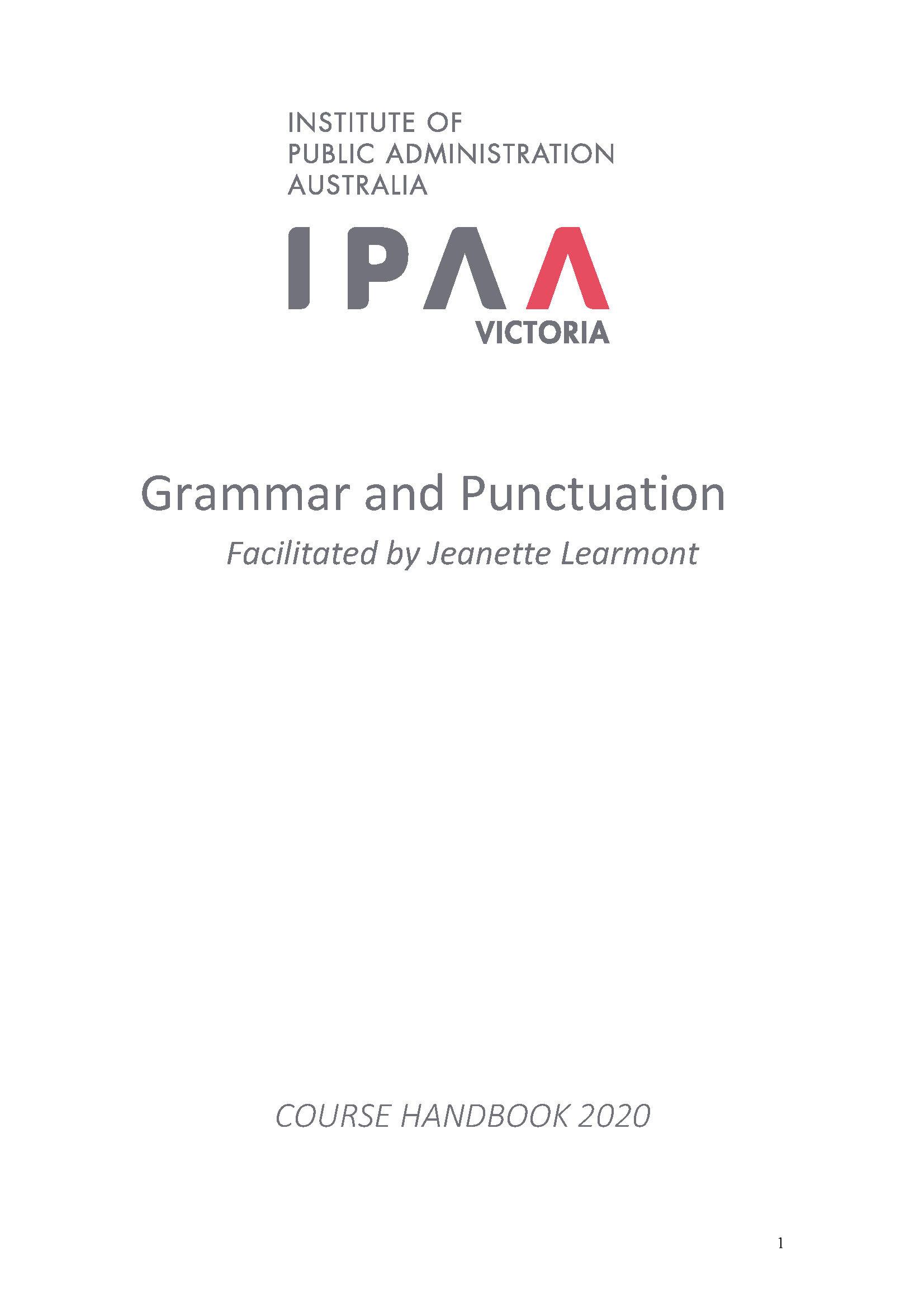 Grammar and Punctuation — IPAA Victoria