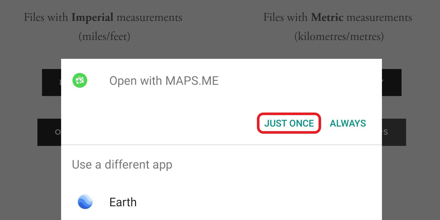 Image 4:  Choose to open the file with Maps.Me