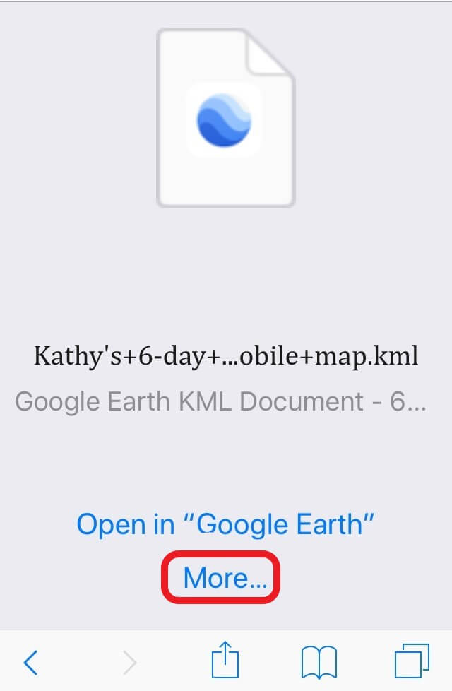 Image 5:  Example of Google Earth being the default trail map program. Select 'More' to find Maps.Me.