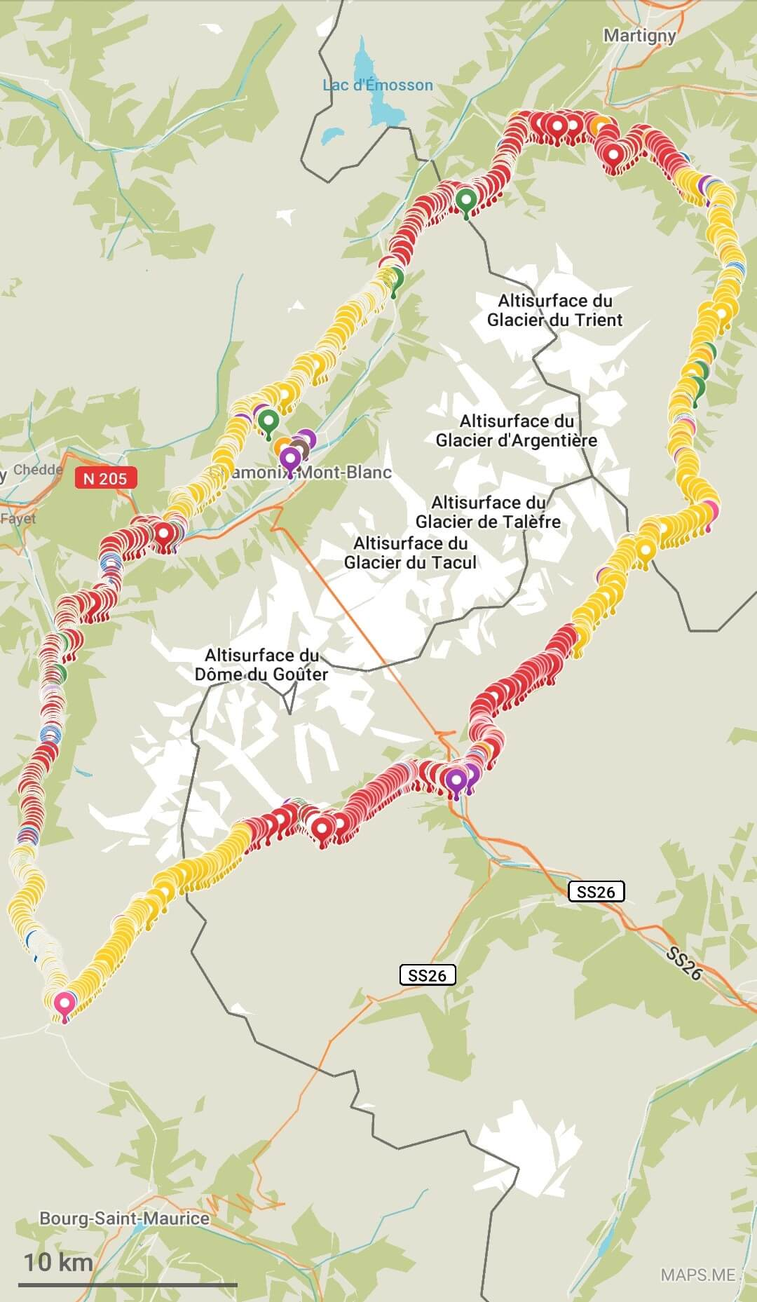 Tour du Mont Blanc Map of the Elite 6-Day Main route.