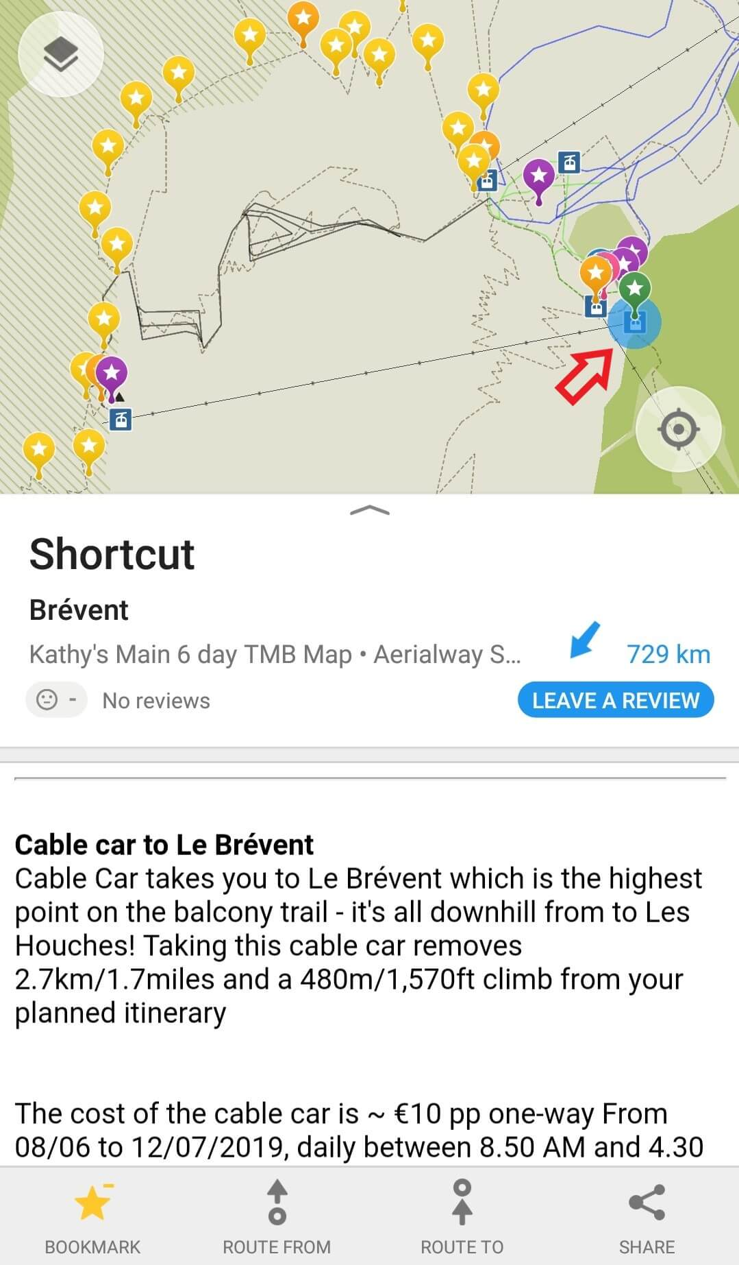 Shortcut locations are shown in green and information is provided on schedule and prices