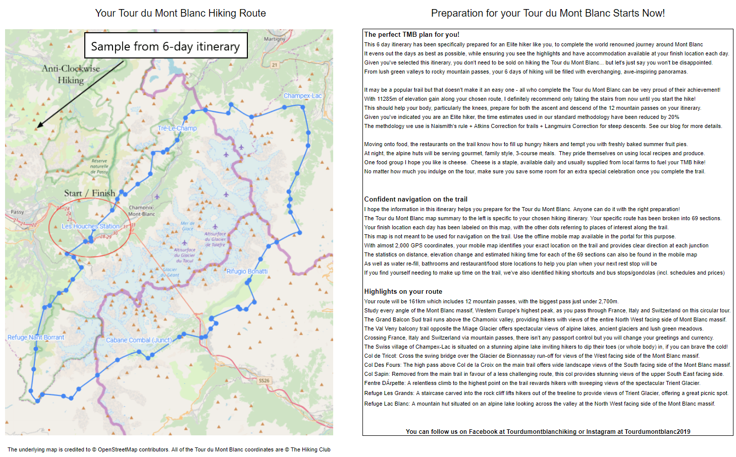 Tour du Mont Blanc sample map and highlights summary from the Elite self-guided 6-day All Highlights itinerary.