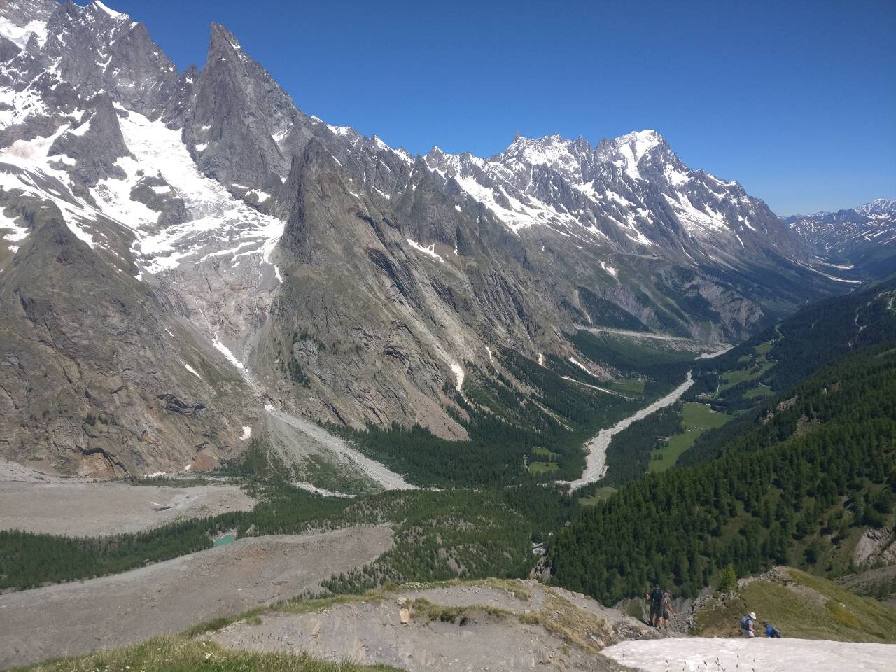 Val Veny:  Balcony trail opposite the Miage Glacier offers spectacular views of alpine lakes, ancient glaciers and lush green meadows.