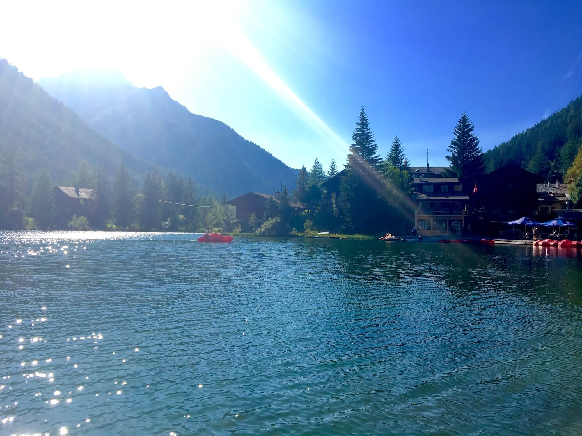 Champex-Lac:  A beautiful alpine lake to relax and enjoy after a long day of hiking. You can hire a row boat, fish or have a dip if the water isn't too cold.