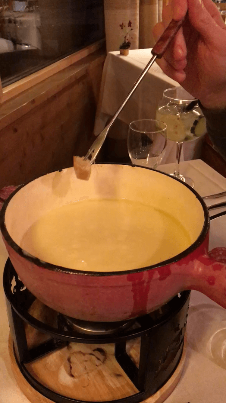 Les Houches:  Another delicious fondue dinner on the trail