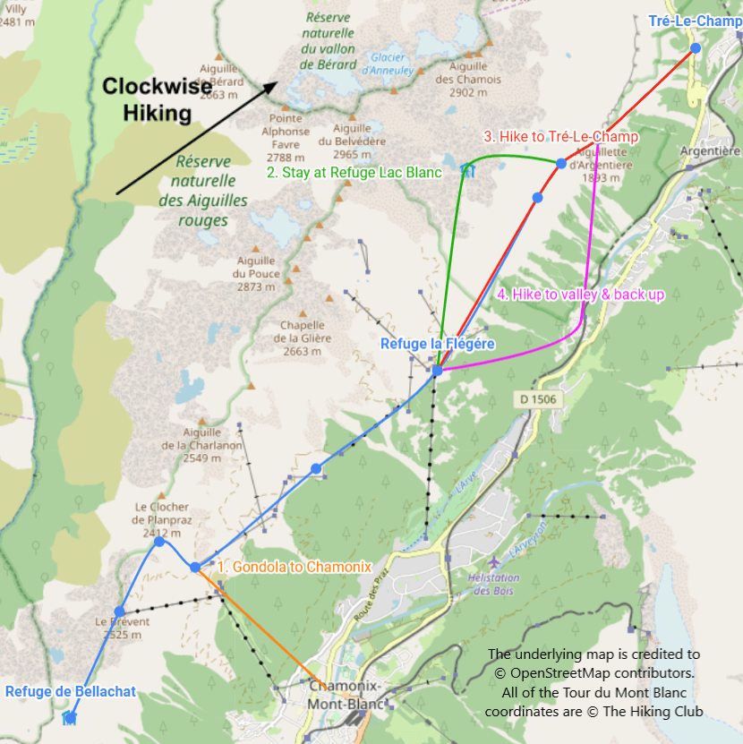 This high level map shows the different options analysed as part of our Tour du Mont Blanc clockwise itinerary review to address the Refuge La Flégère closure in 2019. The lines have been smoothed between key points of interest for this illustration.