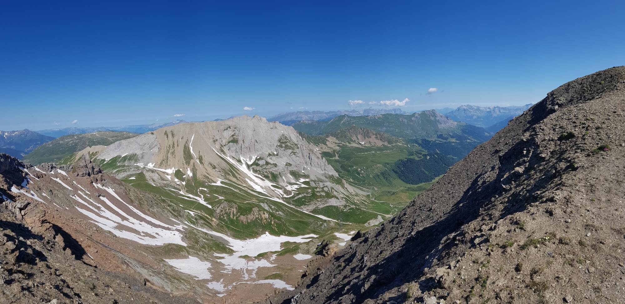 Col des Fours:  Snow still on some high parts of the trail in mid July 2018