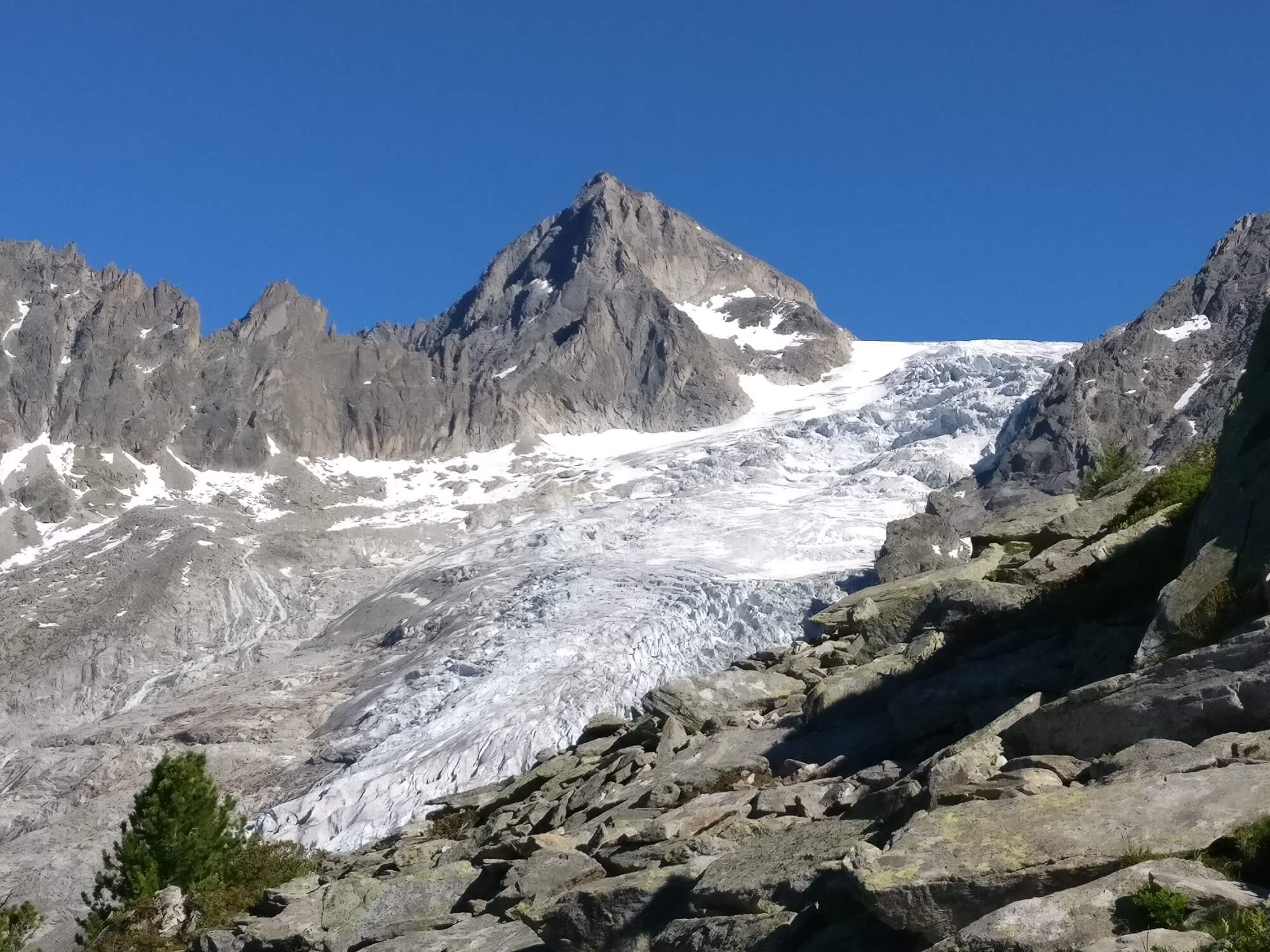 Trient Glacier:  View from Refuge Les Grands across the spectacular, yet quickly receding glacier.