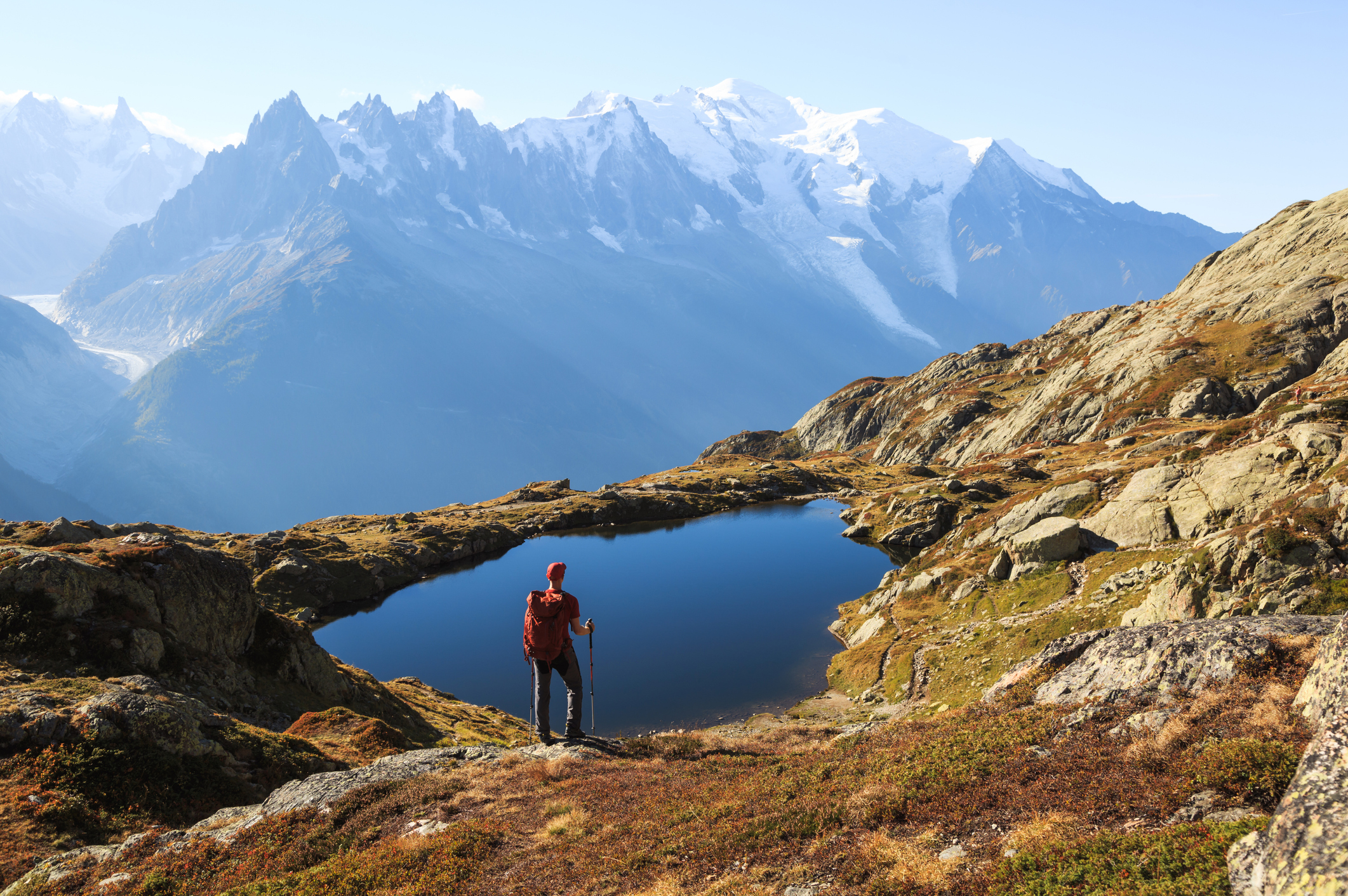 Lac des Cheserys : Just above the Grand Balcon Sud section of the main TMB trail and sharing a similar stunning view of the Mont Blanc massif. Hikers will pass this lake on the way to its more famous cousin, Lac Blanc.