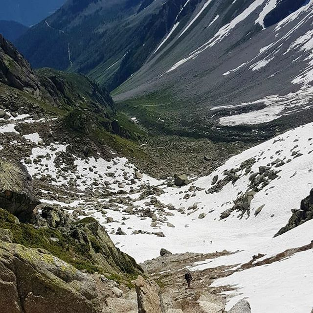 Experienced hikers have started to cross the Fenetre d'Arpette pass. On the Arpette side, there is still sections of steep snow. On the Trient side, the snow can be avoided. Unlike other mountain passes on the TMB, the topography of Fentre makes it high risk alternative route choice while there is still snow, as a slip here could be (and sadly most years is) fatal for hikers. 😱 🙏  If you don't have the experience and skills in this terrain, it is recommended that you continue to choose the Bovine Route until the snow melts. If you do have the skills but it is a cold day (seems crazy with current heat but could happen) or storms/bad weather is forecast then Bovine is best for you too ☺️ ☀️☀️☀️ Given the warm weather has now set in, it shouldn't be long until the snow has cleared and it is safe for all to cross. Continue to ask in the Le Peuty/Trient/Champex-Lac refuges if they've heard from those coming over Fentre whether the snow has melted. If there is still snow but you'd still like to get up close to the Trient Glacier, take the alternative route via Refuge Les Grands to Col de la Balme.  Safety first 👌  #tourdumontblanc