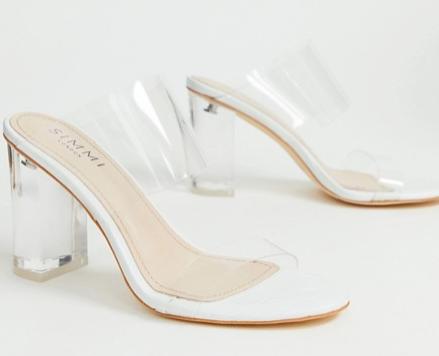 Simmi London Kimana white croc clear detail heeled sandals