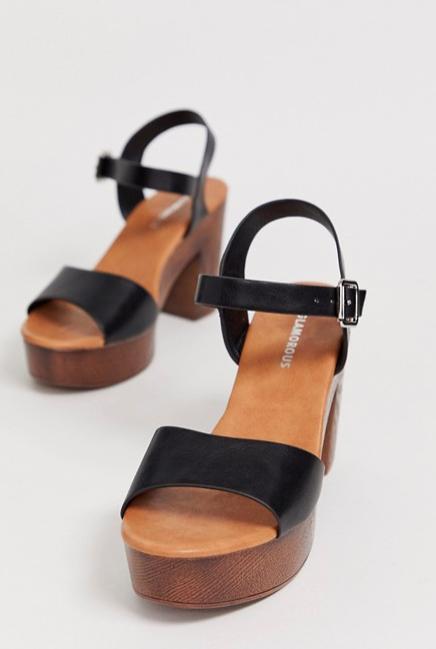 Glamorous black wood effect platform sandals