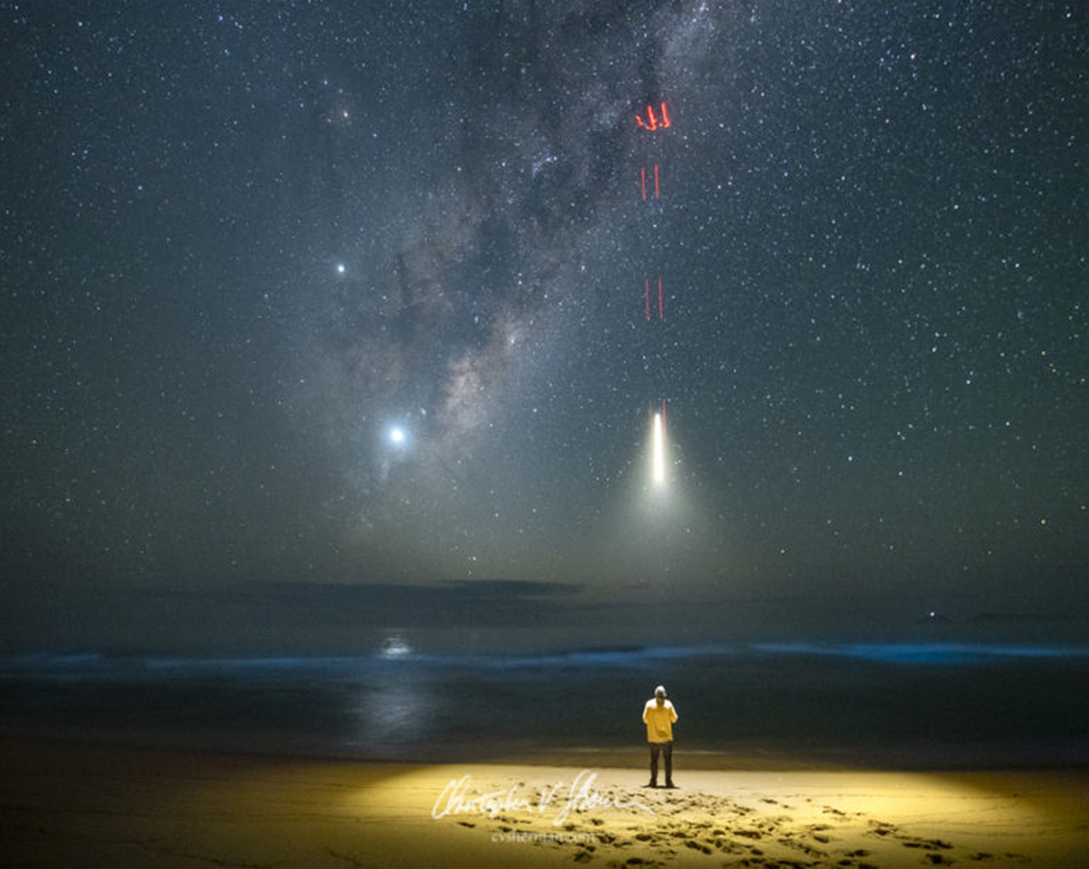 Lighting a Milky Way Scene with a Drone:Abducted By Aliens - Early one morning, while gazing at our amazing Milky Way galaxy, on a beach, on the shore the Tasman Sea in eastern AustraliaClick here to read more…