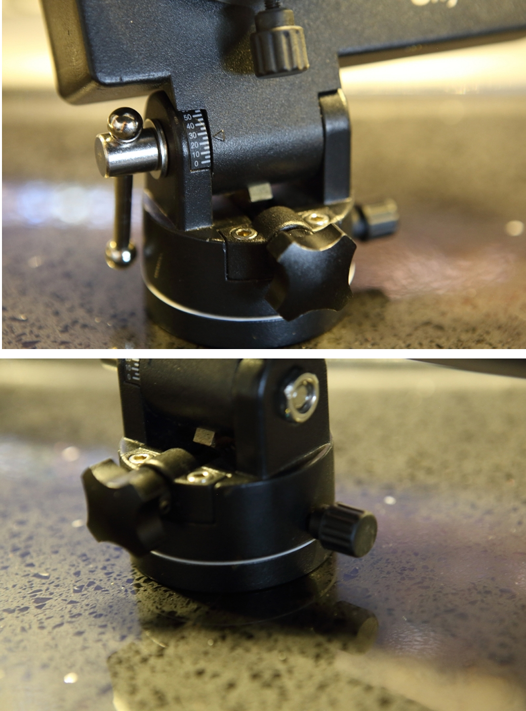 Figure 4: Left, we see the elevation adjustment knob(black, middle), latitude degree markings, and elevation clamp (silver-barred knob on the left). On the right is the azimuth wheel (rotates along the silver line) and azimuth wheel lock.