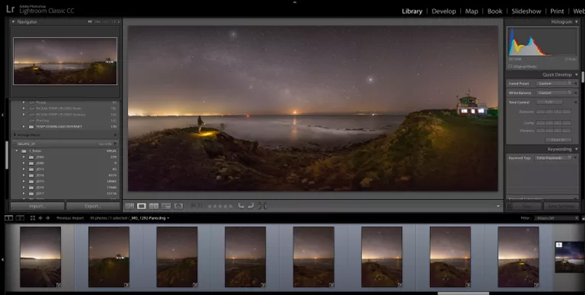Peveril Point Swanage Milky Way: 7 images highlighted below and stitched in Abobe Lightroom.