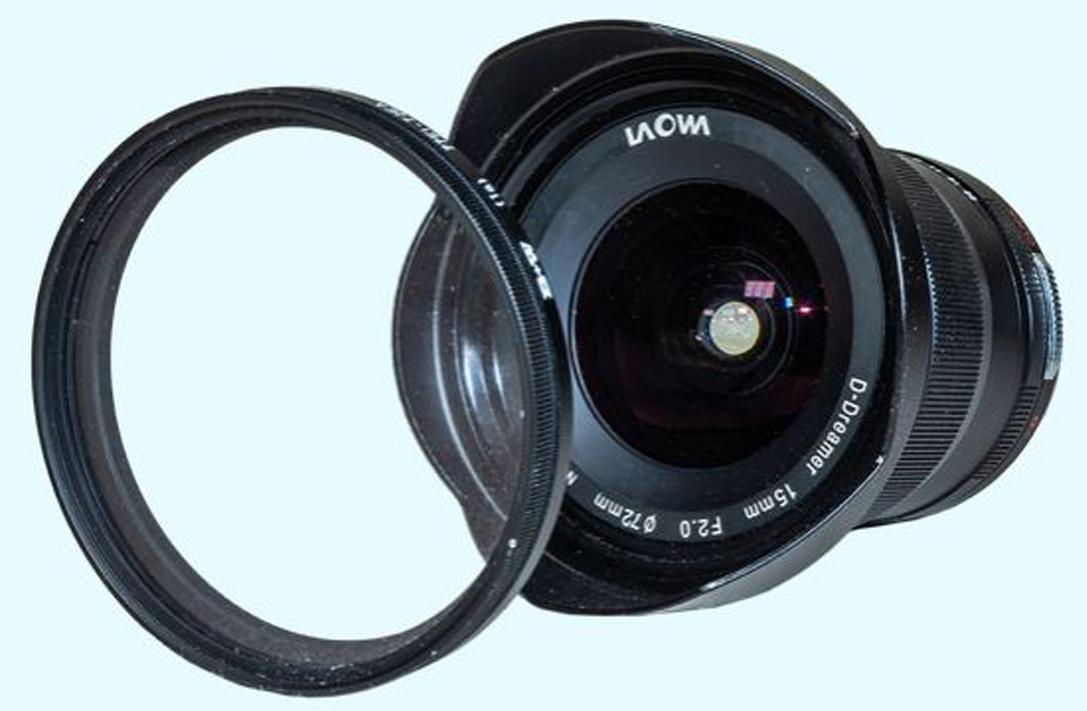 Though a very wide lens, the 15mm Laowa accepts standard 72mm filters. The metal lens hood is removable. © 2019 Alan Dyer