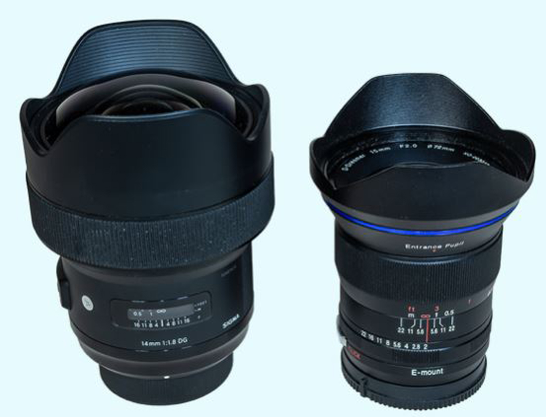 Sigma 14mm f/1.8 Art lens (for Nikon mount) vs. Venus Optics 15mm f/2 lens (for Sony mount). © 2019 Alan Dyer