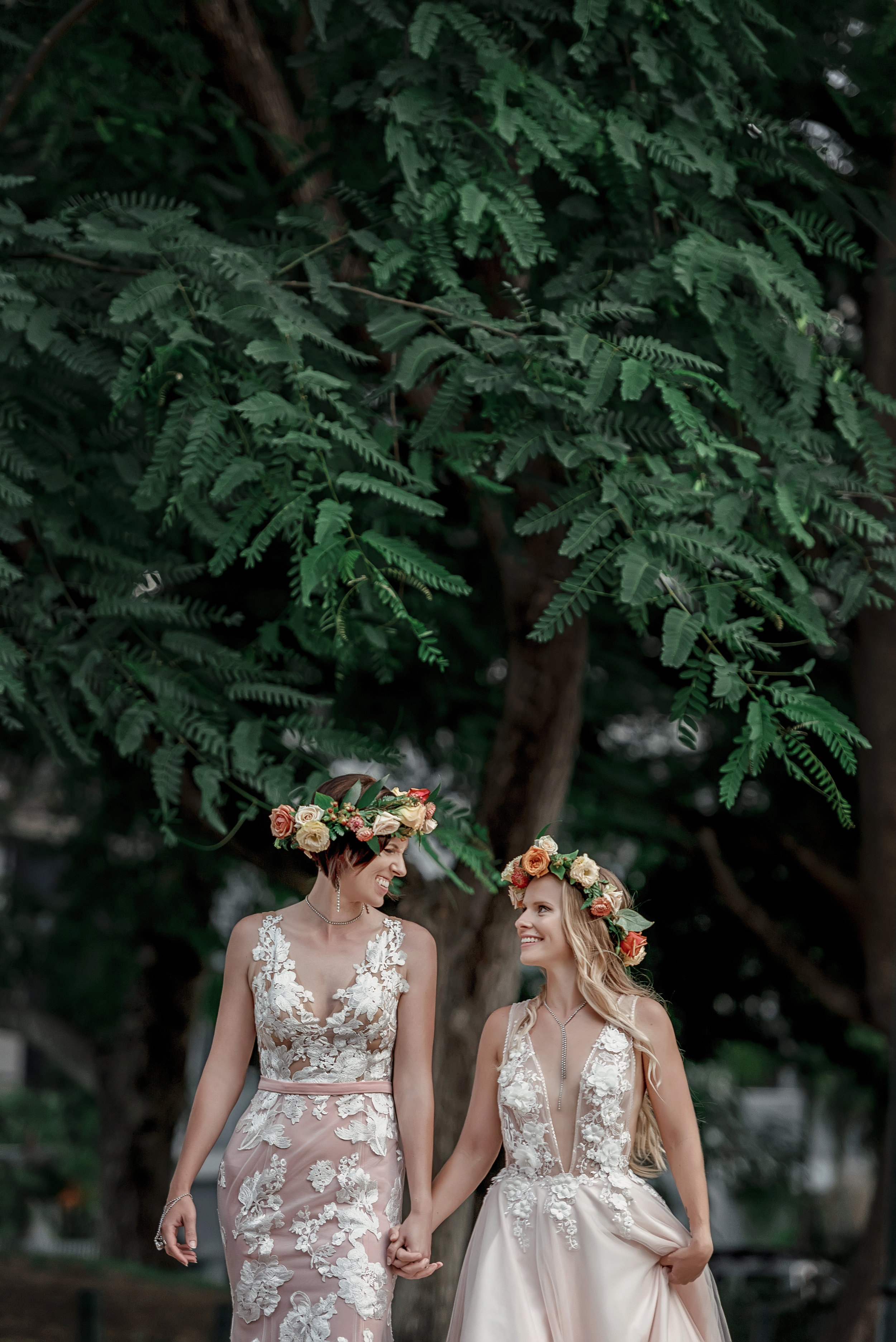 Elegant Bridal Photoshoot Floral Crowns Two Brides Lace Wedding Dress Brisbane