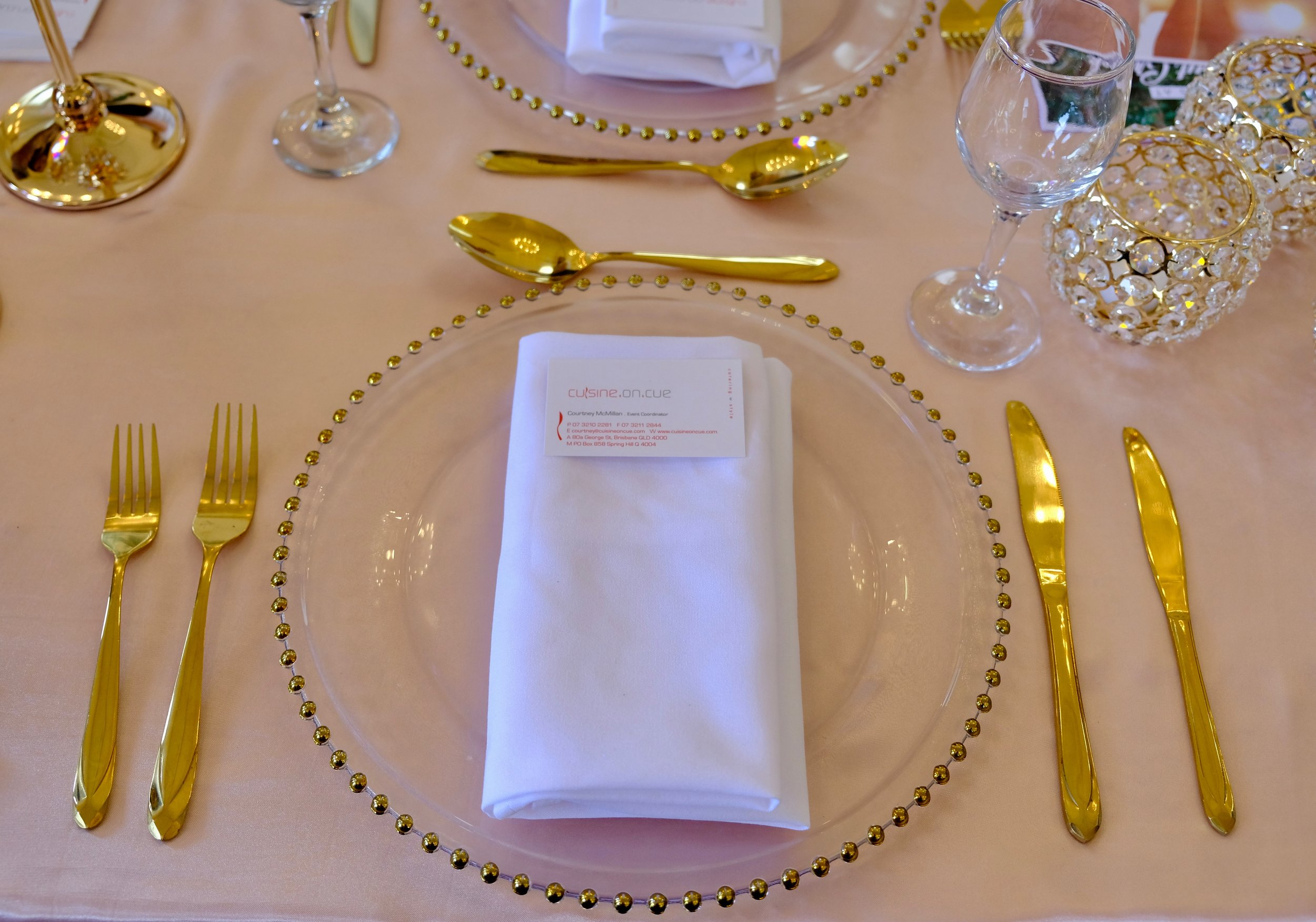 Beautiful gold table details from    Cuisine On Cue