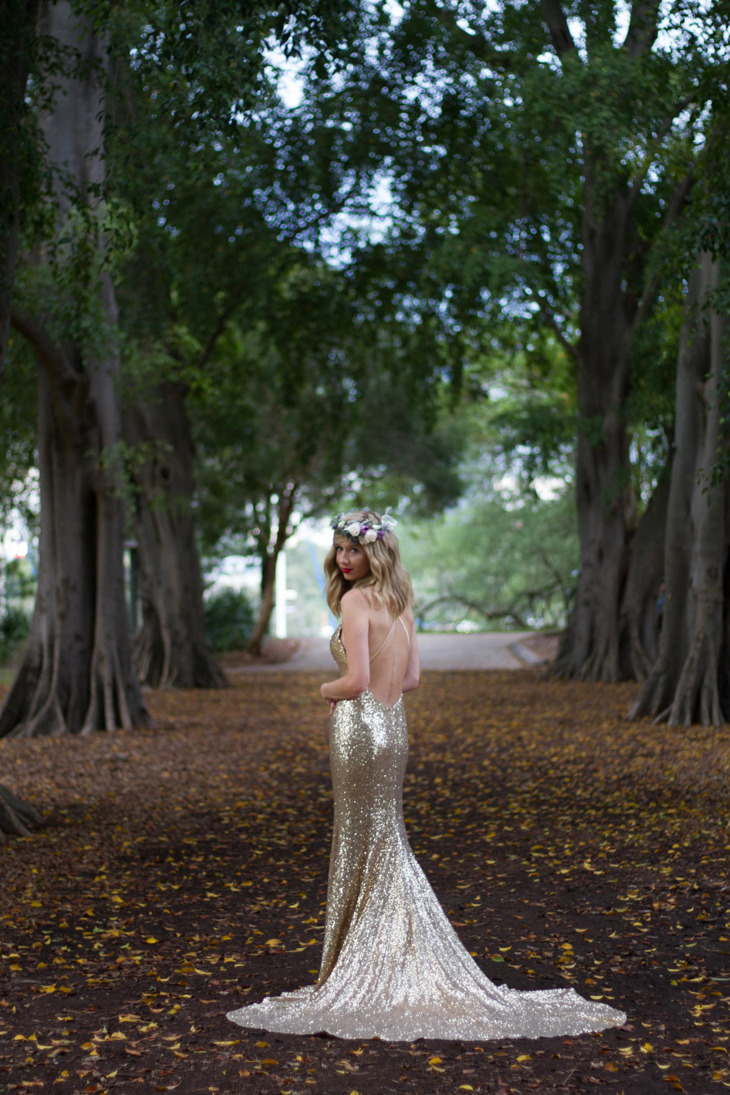 Bride Gold Metallic Wedding Dress Floral Crown Bohemian Chic Styling Brisbane Botanic Gardens Creative Photoshoot www.adella.photography