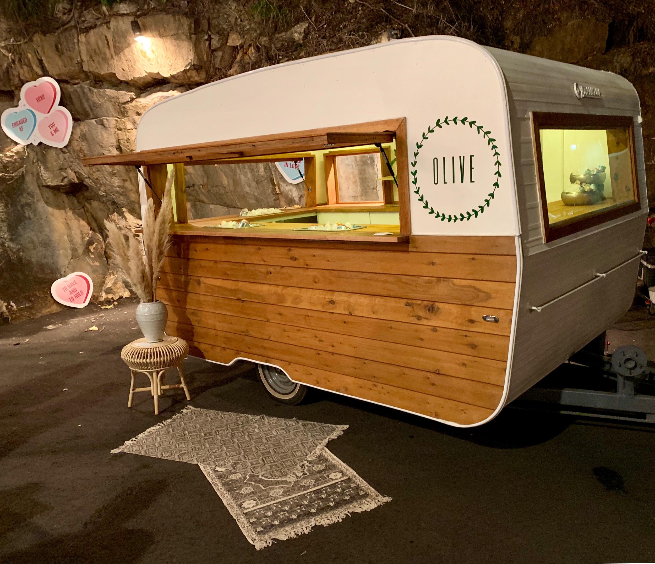 Wedding Harvest Olive Typsy Gypsy Bar Caravan