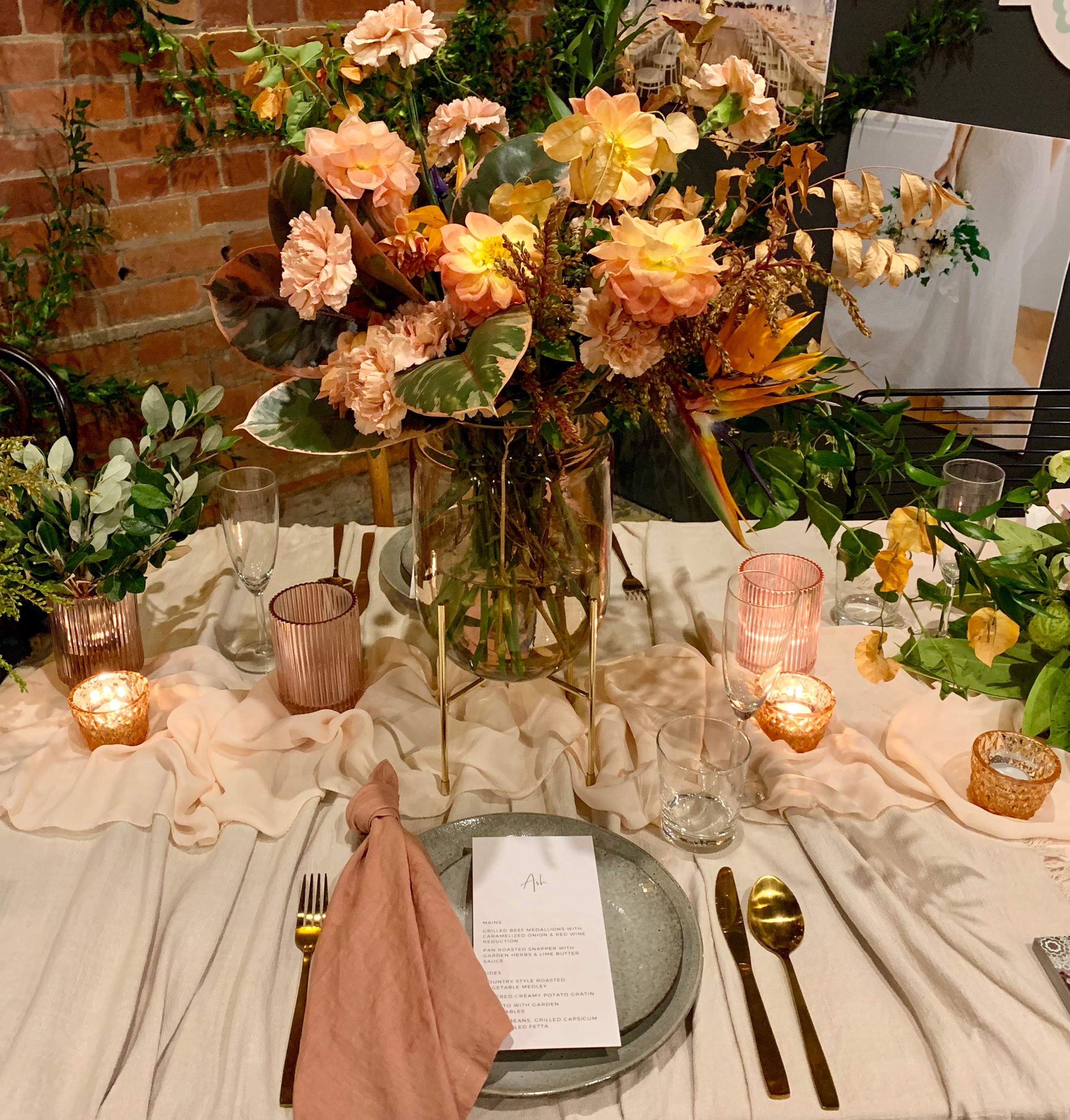 Wedding Harvest Reception Table Setting Blush Florals Candles Main Event Weddings