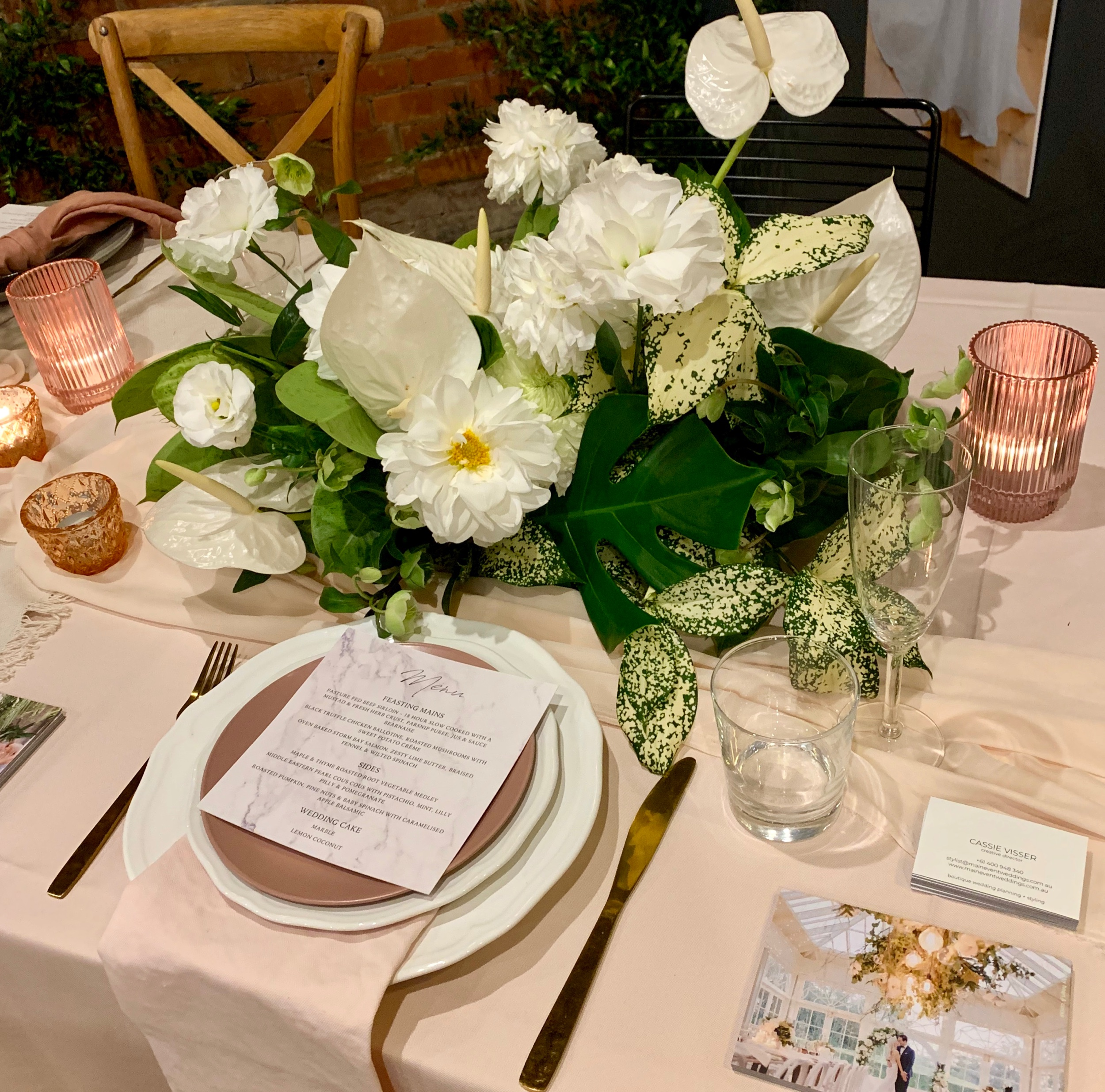 Wedding Harvest Reception Table Setting White Floral Centrepiece Gold Cutlery Main Event Weddings