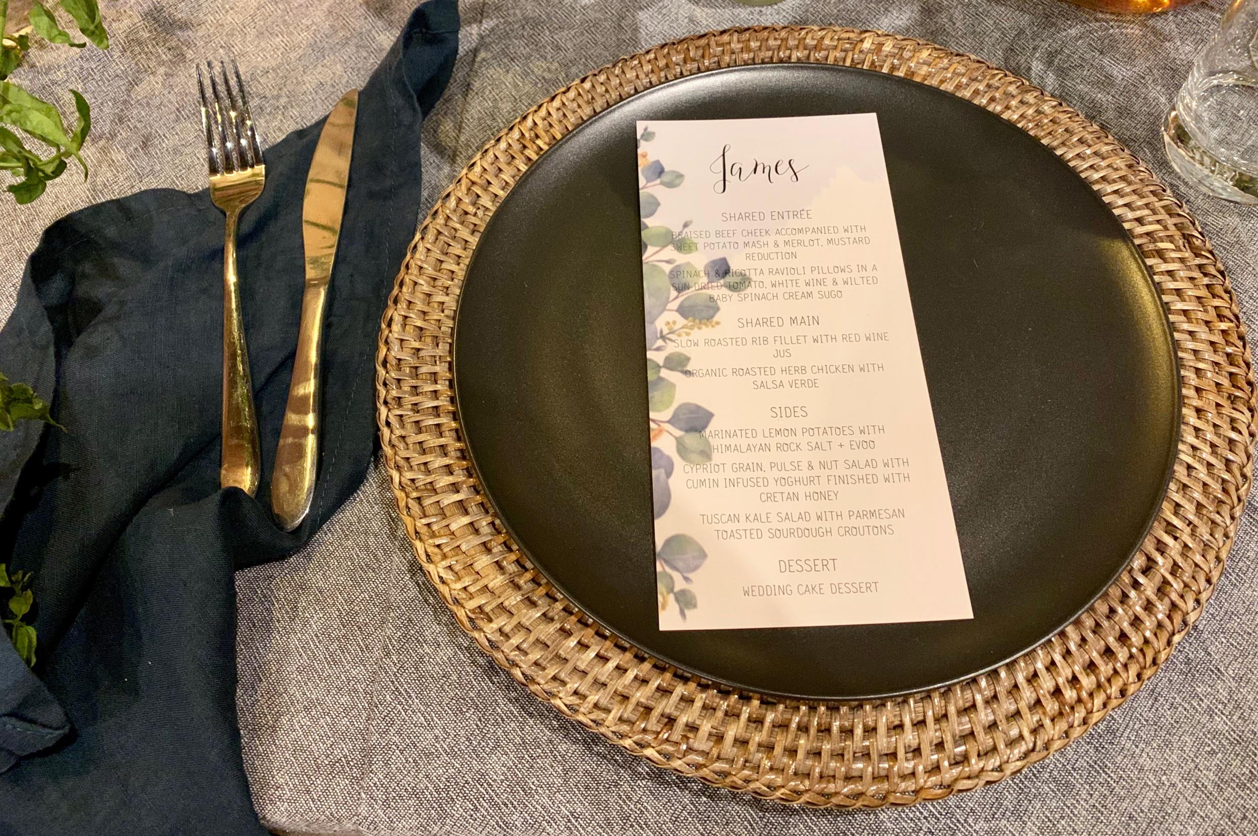 Wedding Harvest Reception Table Setting Gold Cutlery Personalised Menu Main Event Weddings
