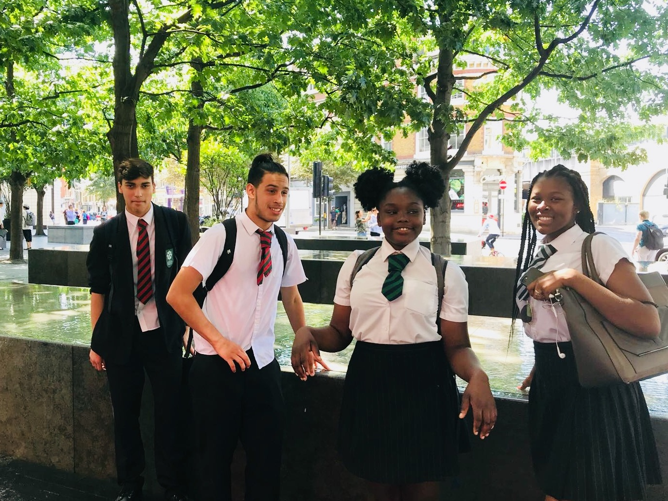 Year 9 students from The Elmgreen School in Tulse Hill at London Bridge on an orienteering challenge day.