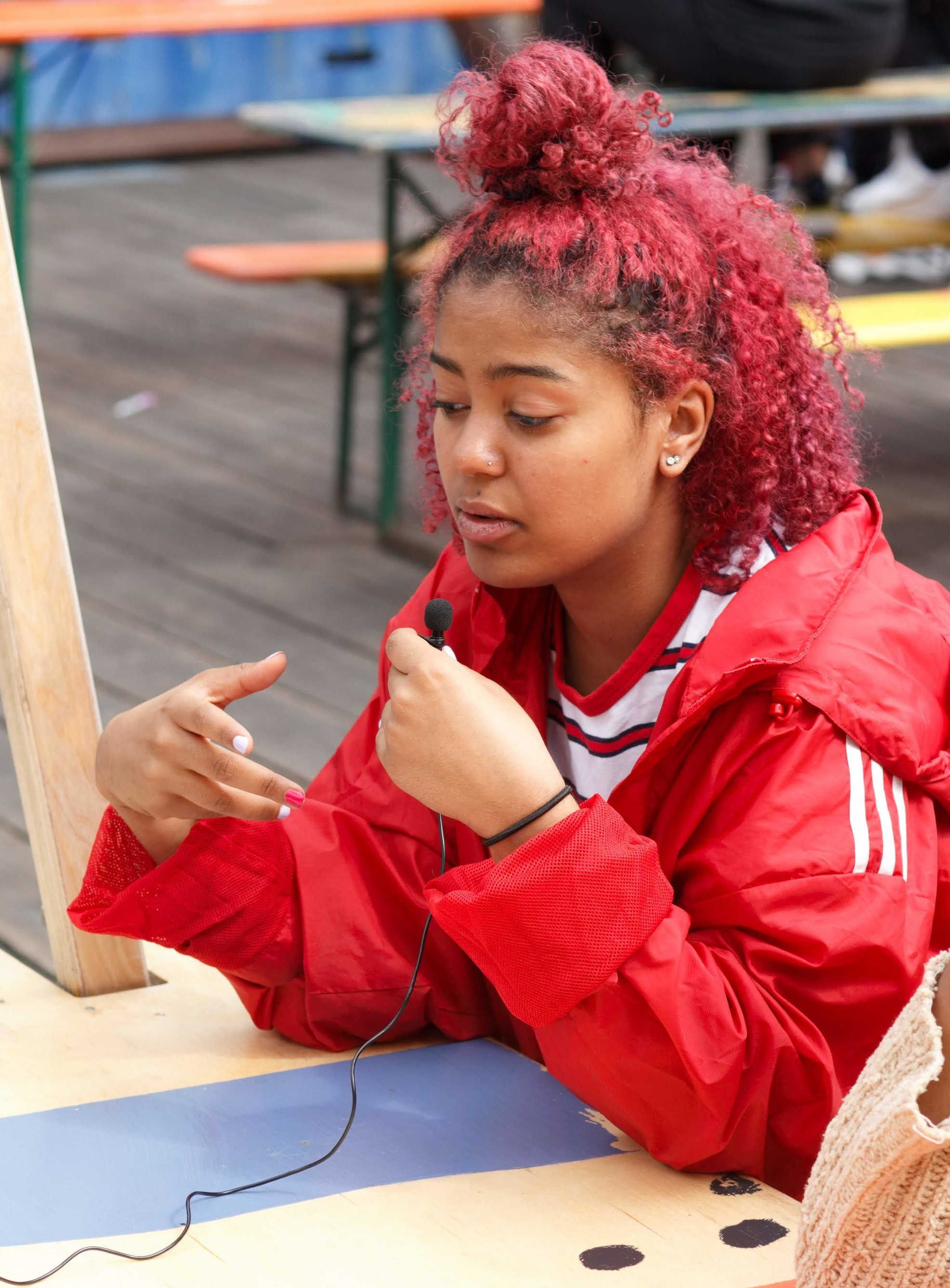Ella learning new presenting skills during her work experience in July 2019!