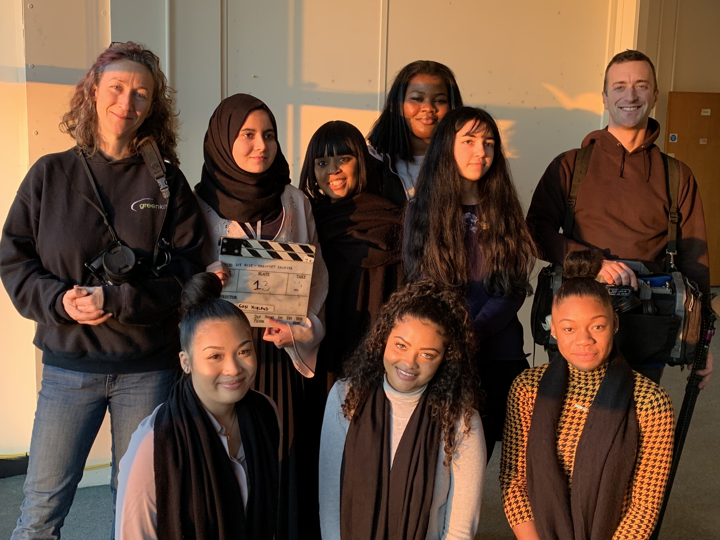 The film-making team. Back row, from left, Gabi Norland (Director of Photography), Betool Hadj-cherif, (Director), Maxine Sobers, (Haringey Workforce Manager), Abena Antwi (Assistant Director), Aiya Brouk (Visual Design), Martin Clarke (Sound Recordist). Front row from left, Stephanie Castillo, Ellise Carty and Shanay Johnson (Haringey apprentices )