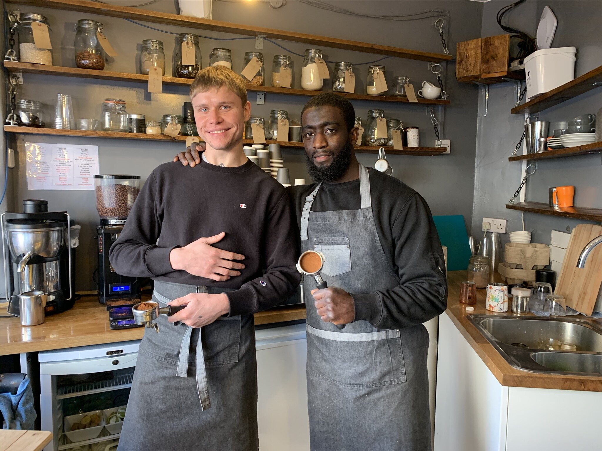 Ali, Owner of the busy Balance Cafe on Ferndale Road (right) has given his backing to this youth led initiative.