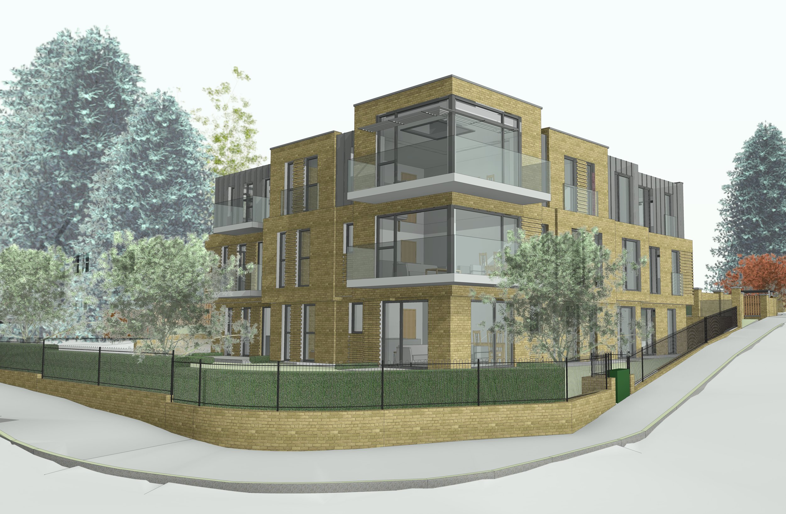 Sparks Garage, Camberly - Sparks Garage located in Camberly was used as an existing motor garage. The client appointed us to achieve planning permission and working drawings for a new build block of apartments with modern features and design. The total development consisted of 9 flats.